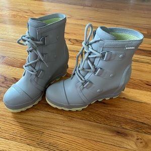 Gray Sorel women's wedge rain boots